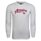 White Long Sleeve T Shirt-Avenging Angels Script
