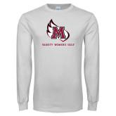 White Long Sleeve T Shirt-Varsity Womens Golf