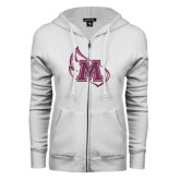 ENZA Ladies White Fleece Full Zip Hoodie-Primary Mark Pink Glitter