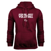 Maroon Fleece Hood-Volleyball Design