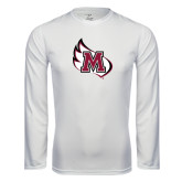 Performance White Longsleeve Shirt-M Wing Icon