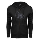 ENZA Ladies Black Fleece Full Zip Hoodie-Primary Mark Graphite Soft Glitter