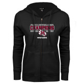 ENZA Ladies Black Fleece Full Zip Hoodie-USA South Conference Lacrosse Champions