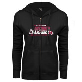 ENZA Ladies Black Fleece Full Zip Hoodie-2017 USA South Division Softball Champions