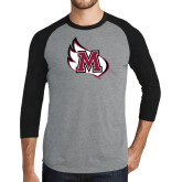 Grey/Black Tri Blend Baseball Raglan-M Wing Icon
