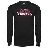Black Long Sleeve T Shirt-2017 USA South Division Softball Champions