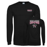 Black Long Sleeve T Shirt-2018 Womens Lacrosse Champions Back of Shirt