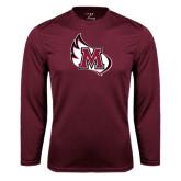 Performance Maroon Longsleeve Shirt-M Wing Icon