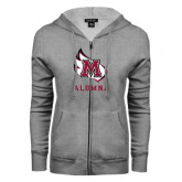 ENZA Ladies Grey Fleece Full Zip Hoodie-Alumna