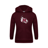 Youth Maroon Fleece Hoodie-M Wing Icon
