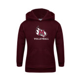 Youth Maroon Fleece Hoodie-Volleyball