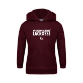 Youth Maroon Fleece Hoodie-Lacrosse Design