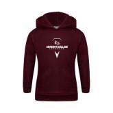 Youth Maroon Fleece Hoodie-Lacrosse Design