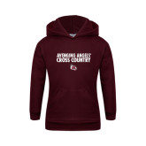 Youth Maroon Fleece Hoodie-Cross Country Design