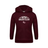 Youth Maroon Fleece Hoodie-Basketball Design