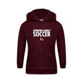 Youth Maroon Fleece Hoodie-Soccer Design