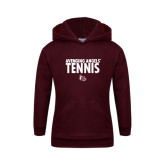 Youth Maroon Fleece Hoodie-Tennis Design