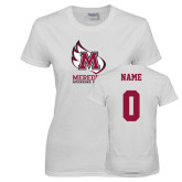 Ladies White T Shirt-Primary Mark, Custom Tee w/ Name and #