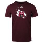 Adidas Maroon Logo T Shirt-M Wing Icon