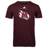 Adidas Climalite Maroon Ultimate Performance Tee-M Wing Icon