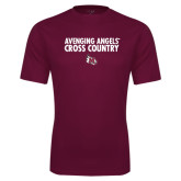 Performance Maroon Tee-Cross Country Design