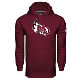 Under Armour Maroon Performance Sweats Team Hoodie-M Wing Icon