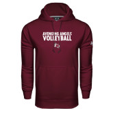 Under Armour Maroon Performance Sweats Team Hoodie-Volleyball Design