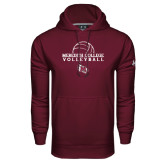 Under Armour Maroon Performance Sweats Team Hood-Volleyball Design