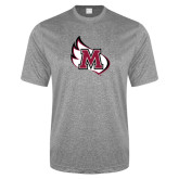 Performance Grey Heather Contender Tee-M Wing Icon