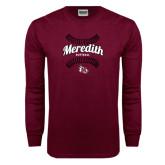 Maroon Long Sleeve T Shirt-Softball Design