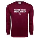 Maroon Long Sleeve T Shirt-Track & Field Design