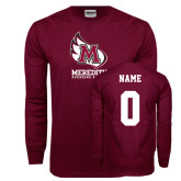 Maroon Long Sleeve T Shirt-Primary Mark, Custom Tee w/ Name and #