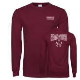Maroon Long Sleeve T Shirt-2018 Womens Lacrosse Champions Back of Shirt