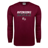 Maroon Long Sleeve T Shirt-Avenging Angels Stacked