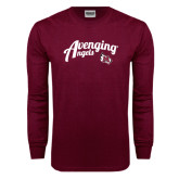 Maroon Long Sleeve T Shirt-Avenging Angels Script