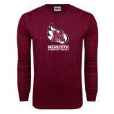 Maroon Long Sleeve T Shirt-Primary Mark Distressed