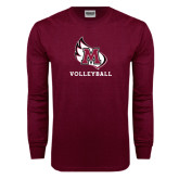 Maroon Long Sleeve T Shirt-Volleyball