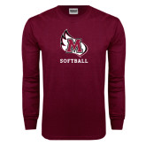 Maroon Long Sleeve T Shirt-Softball