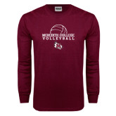 Maroon Long Sleeve T Shirt-Volleyball Design