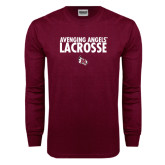 Maroon Long Sleeve T Shirt-Lacrosse Design