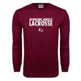 Maroon Long Sleeve T Shirt-Lacrosse Design