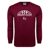 Maroon Long Sleeve T Shirt-Basketball Design