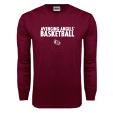 Maroon Long Sleeve T Shirt-Basketball Design