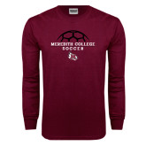 Maroon Long Sleeve T Shirt-Soccer Design