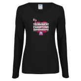 Ladies Black Long Sleeve V Neck Tee-2016 USA South Volleyball Tournament Champions