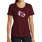 Ladies Performance Maroon Tee-M Wing Icon