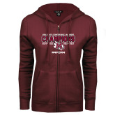 ENZA Ladies Maroon Fleece Full Zip Hoodie-USA South Conference Lacrosse Champions