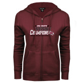 ENZA Ladies Maroon Fleece Full Zip Hoodie-2017 USA South Division Softball Champions