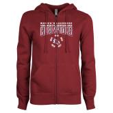ENZA Ladies Maroon Fleece Full Zip Hoodie-2018 Womens Lacrosse Champions Back of Shirt