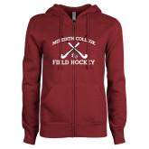 ENZA Ladies Maroon Fleece Full Zip Hoodie-Field Hockey